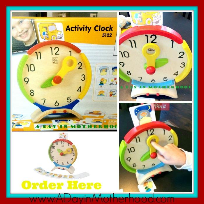 plan toys wooden clock