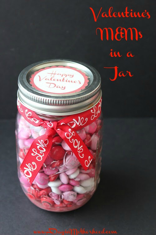 Valentine M&Ms in a Jar