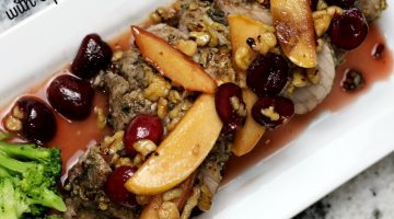 Walnut-Crusted Pork Loin with Apple Cherry Maple Reduction Recipe