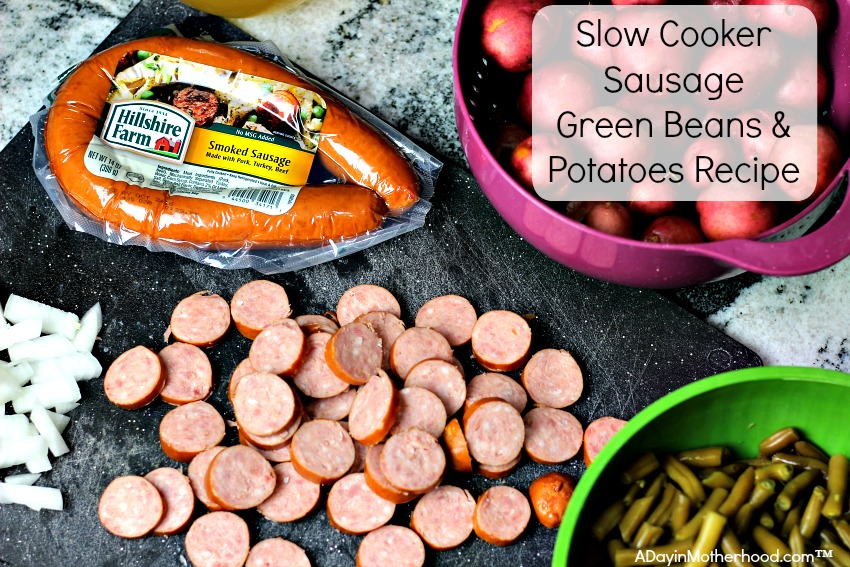 AD My Slow Cooker Sausage Green Beans & Potatoes Recipe will make your mouth water!