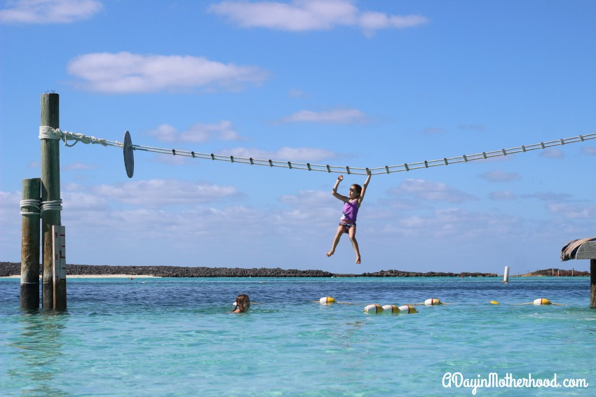Monkey Bars into the water are a hit on Castaway Cay