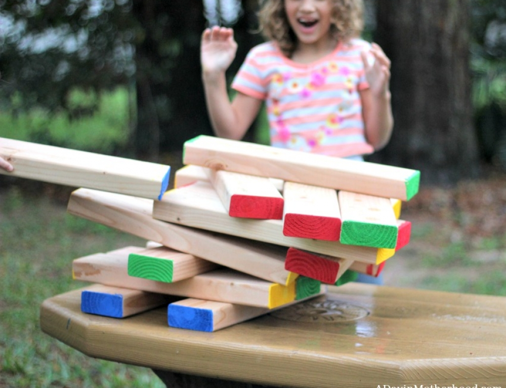 DIY Outdoor Stacking Game Craft (Modified for Kids)