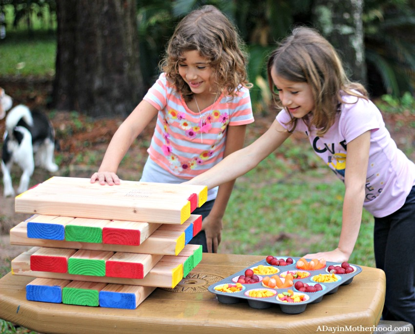 This DIY Outdoor Stacking Game that is modified for kids is too fun!
