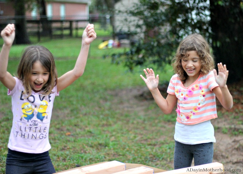Watch them get excited about the DIY Outdoor Stacking Game!