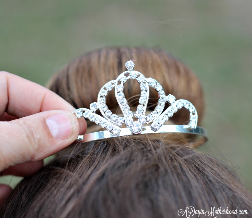 Use a bun tiara to top off the Easy Princess Updo for Kids