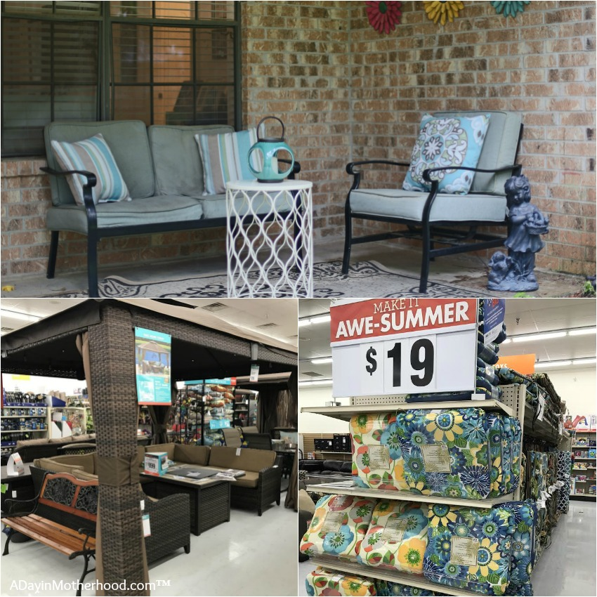 Add a gazebo to create an patio furniture area