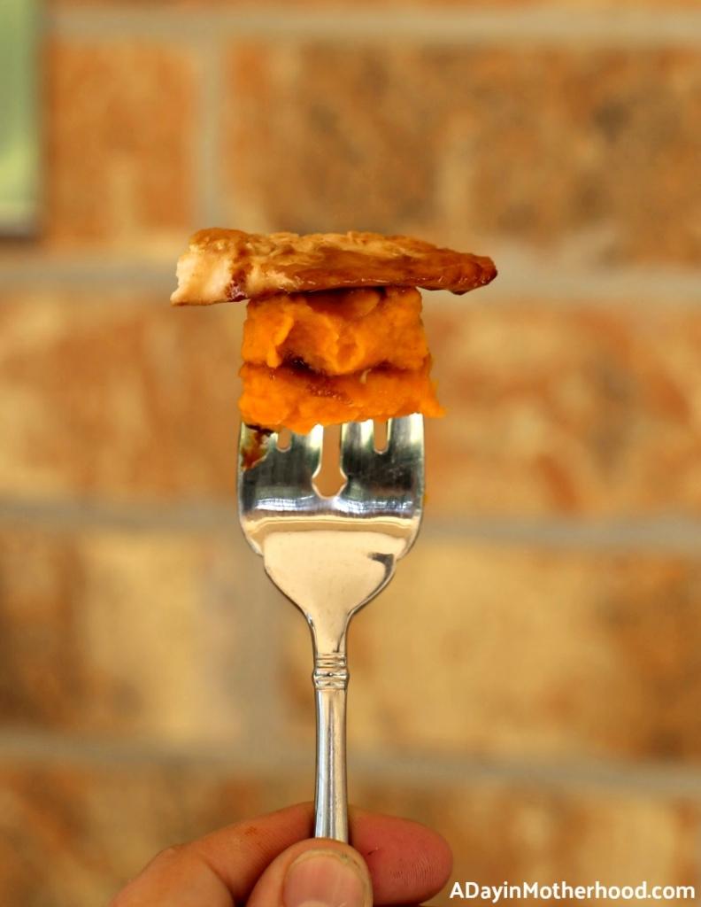 Glazed Brown Sugar Salmon & Mashed Sweet Potatoes & Carrots Recipe so enjoy a forkful