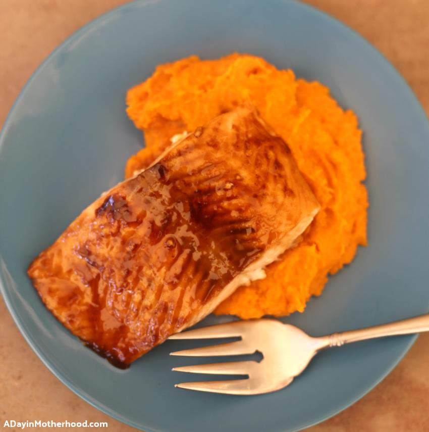 Glazed Brown Sugar Salmon & Mashed Sweet Potatoes & Carrots Recipe