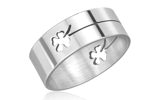 pure silver adjustable item bravekiss flower band big clover leaf sterling wide four ring open women rings