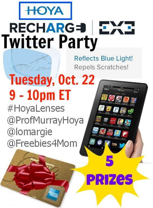WIN A KINDLE or 1 of 4 other prizes at the #HoyaLenses Recharge EX3 Twitter Party#Giveaway on Tuesday, Oct. 22 at 9pm ET