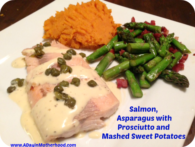 Salmon, Asparagus with Prosciutto, Mashed Sweet Potatoes
