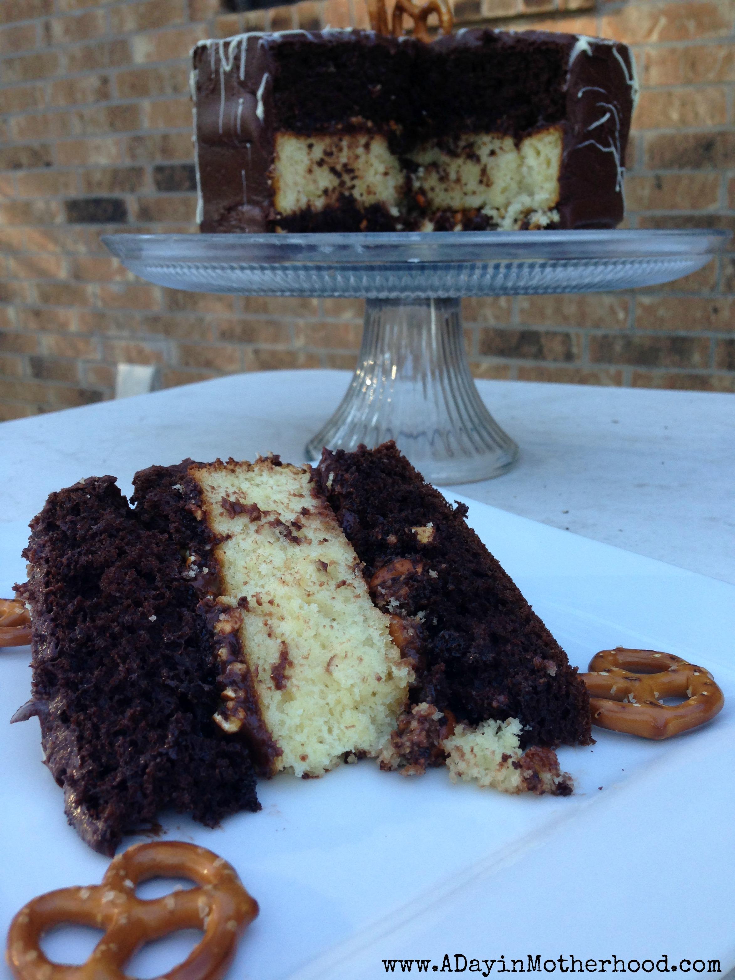 Chocolate Caramel Pretzel Cake