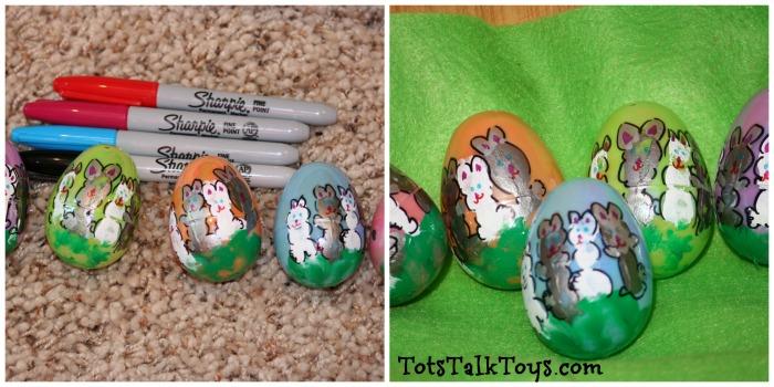 easter egg hand print bunnies