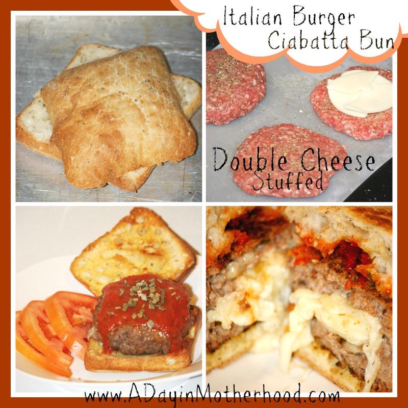 Cheese Stuffed Italian Burger on a Toasted Ciabatta Bun