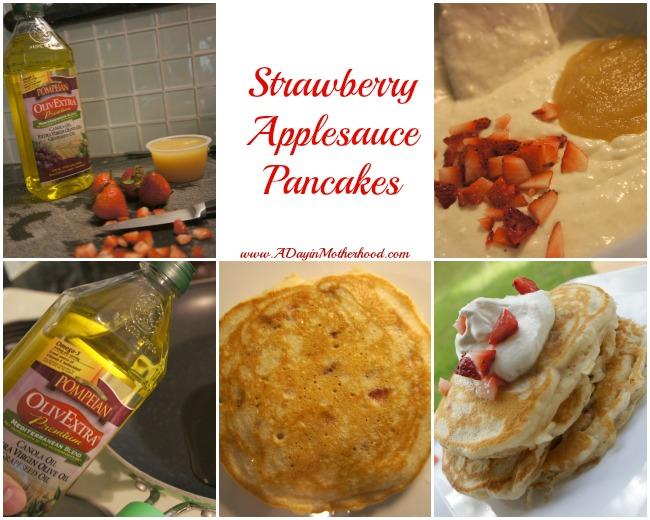 Strawberry Applesauce Pancakes #PledgeforEVOO