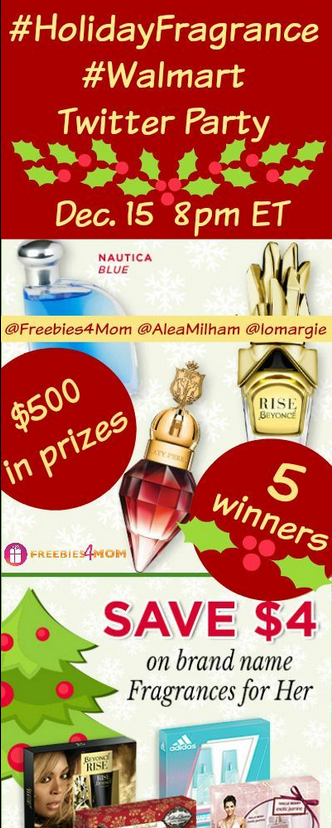 WIN $500 in Prizes at #HolidayFragrance #Walmart Twitter Party Dec. 15 8pm ET