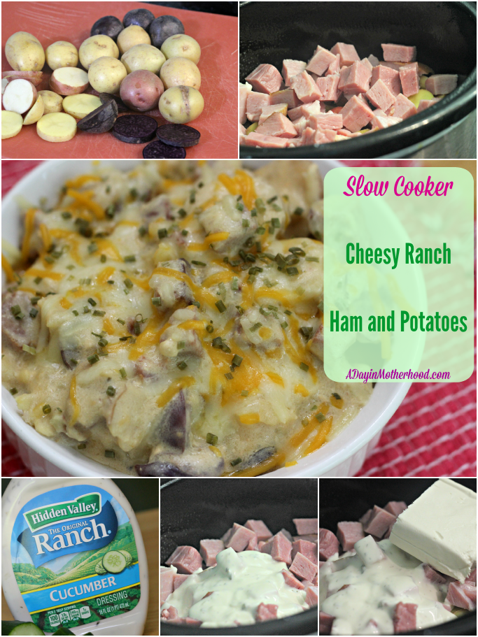 Slow Cooker Cheesy Ranch Ham and Potatoes #WhatsYourRanch #ad