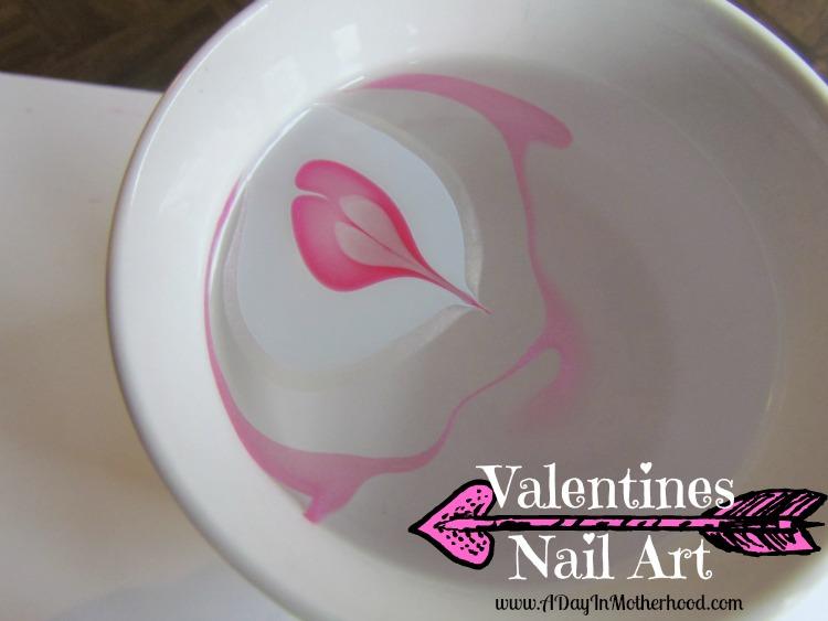 Valentines Marbled Nail Art