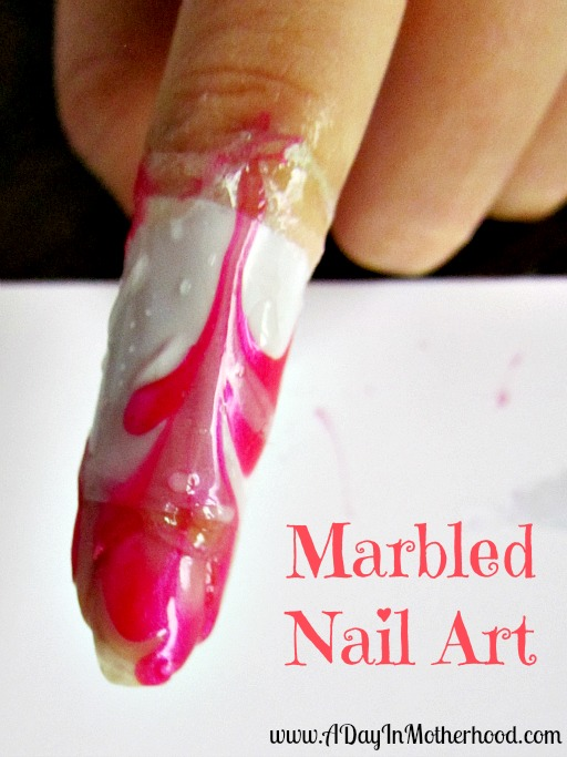 Valentines Marbled Nail Art