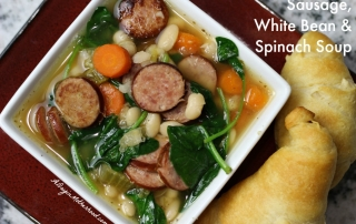 Slow Cooker Sausage, White Bean and Spinach Soup #DeliciousDinners ad
