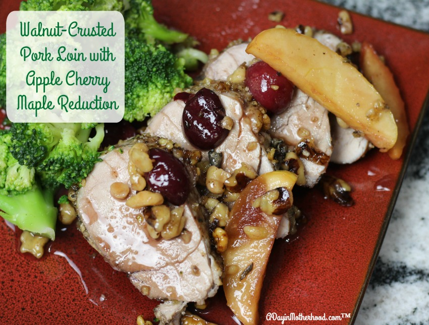 Dinner is served with less than 20 minutes of prep time and a little over an hour in the oven. Impress your family with this easy Walnut-Crusted Pork Loin with Apple Cherry Maple Reduction Recipe #ad