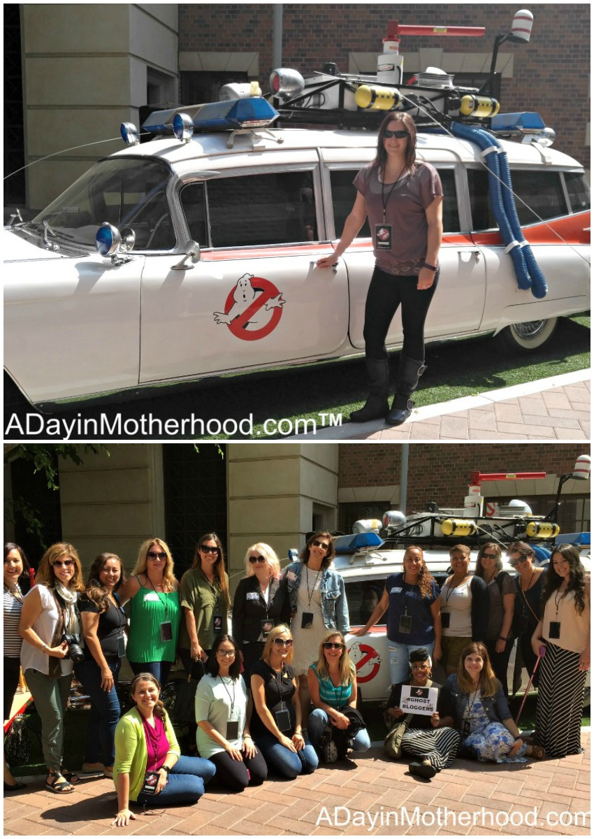 Our group of bloggers in front of the classic Ecto-1 during the #ghostbusters Press Junket #Ghostbloggers #ad