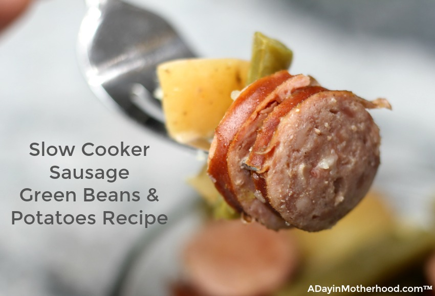 Take a bit of my Slow Cooker Sausage Green Beans & Potatoes and you will be in love!