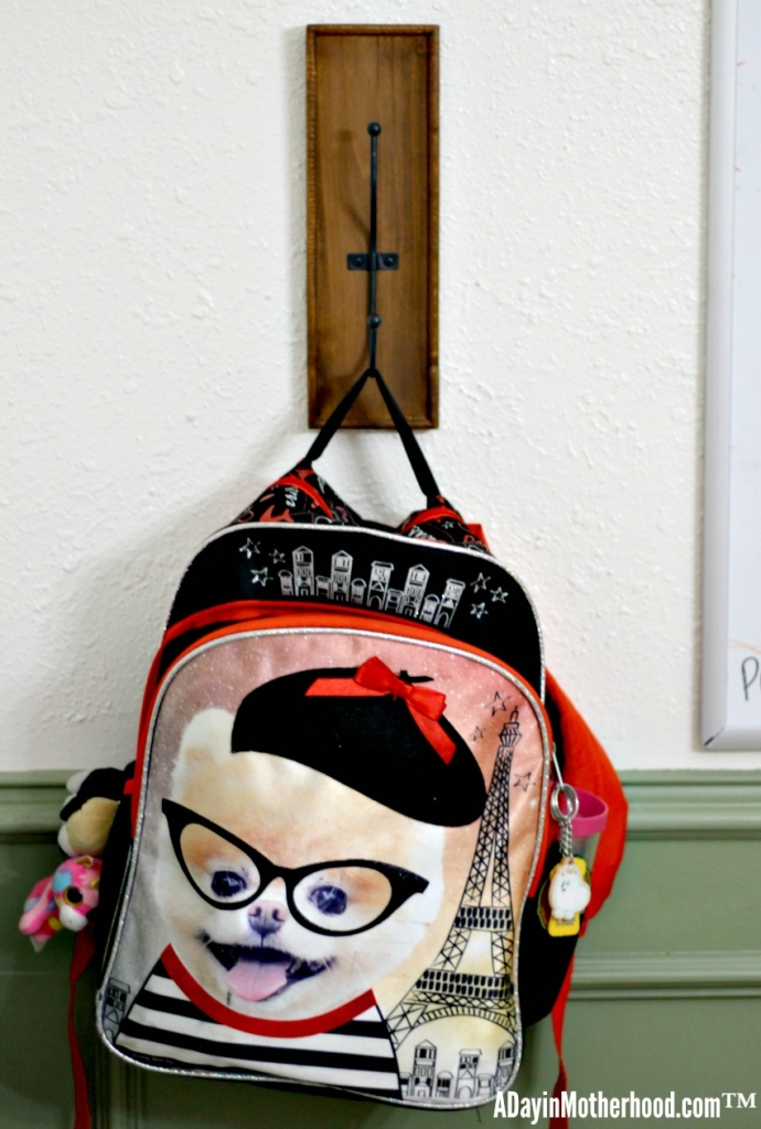 Hooks make an easy backpack station must!