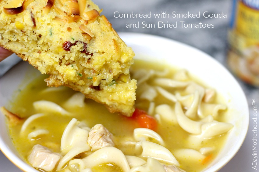 Dip or crumble Cornbread with Smoked Gouda and Sun Dried Tomatoes into Progresso soup