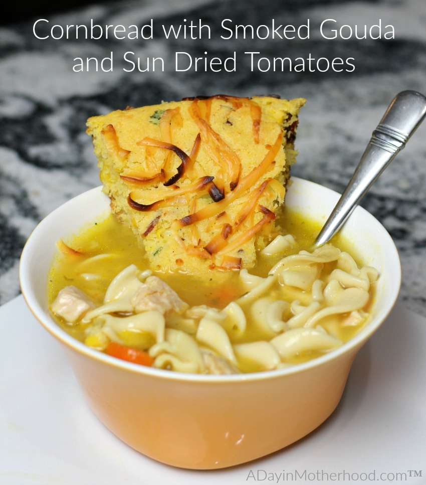 Cornbread with Smoked Gouda and Sun Dried Tomatoes pairs perfectly with Progresso soups!