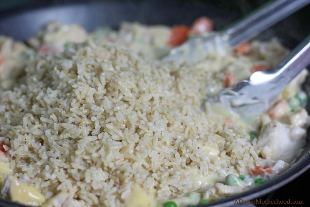 Easy Chicken Pot Pie Casserole starts with Minute Rice