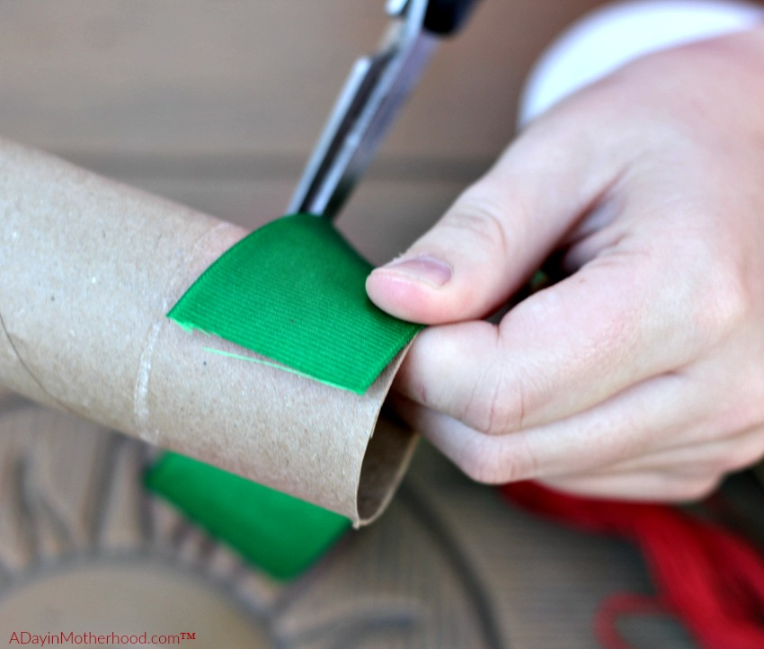 Snip the tube to the size you want for your DIY Holiday Napkin Rings
