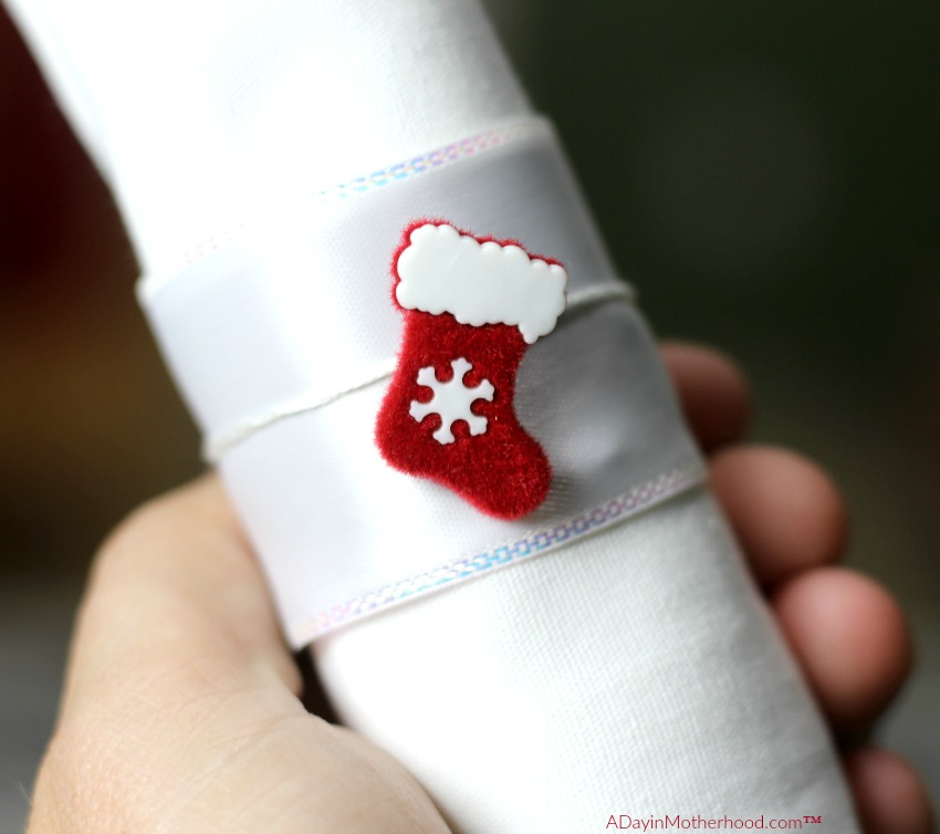 DIY Holiday Napkin Rings can be customized per person