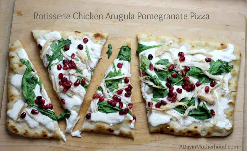 This Rotisserie Chicken Arugula Pomegranate Pizza Recipe is made easier with POM POM
