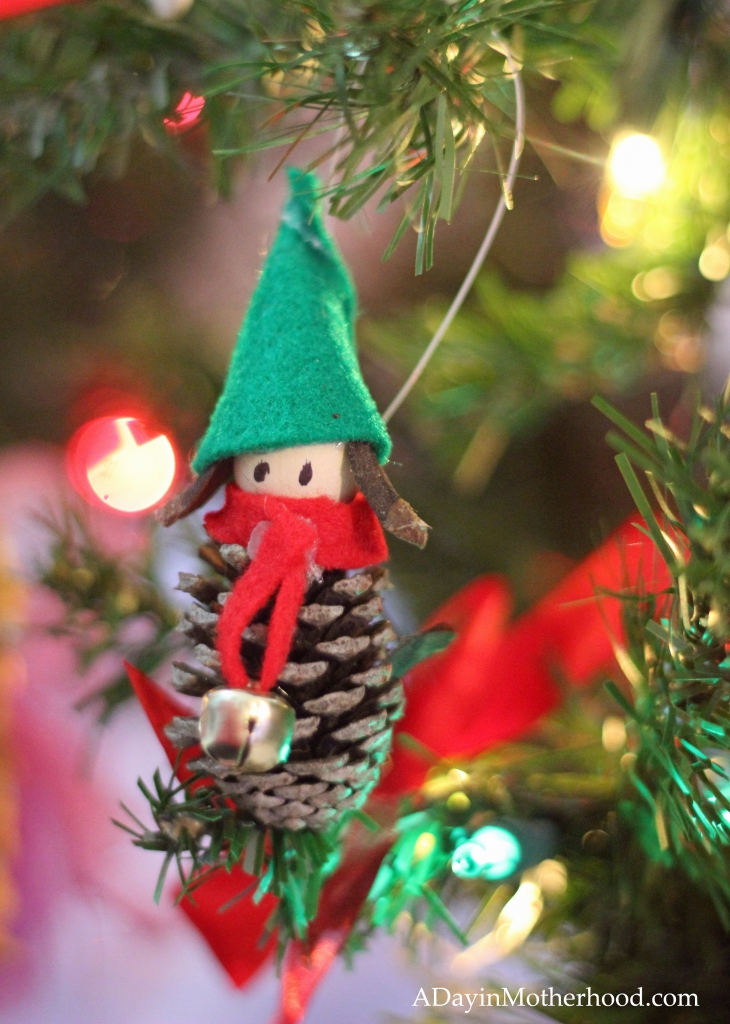 Secure the Pinecone Elf Ornaments with twine!