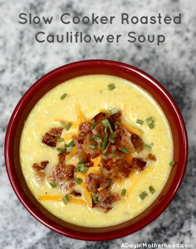 Make this Slow Cooker Roasted Cauliflower Soup and have comfort food for dinner!