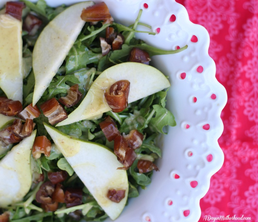 Pear and Date Salad Recipe that Dresses up easily