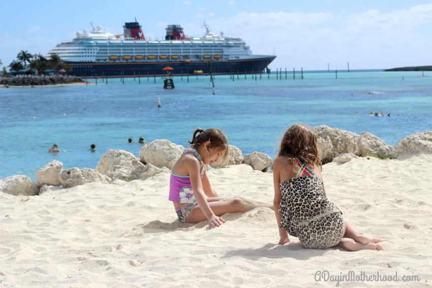 Playing on the white sand on Castaway Cay as a stop on  our cruise was amazing
