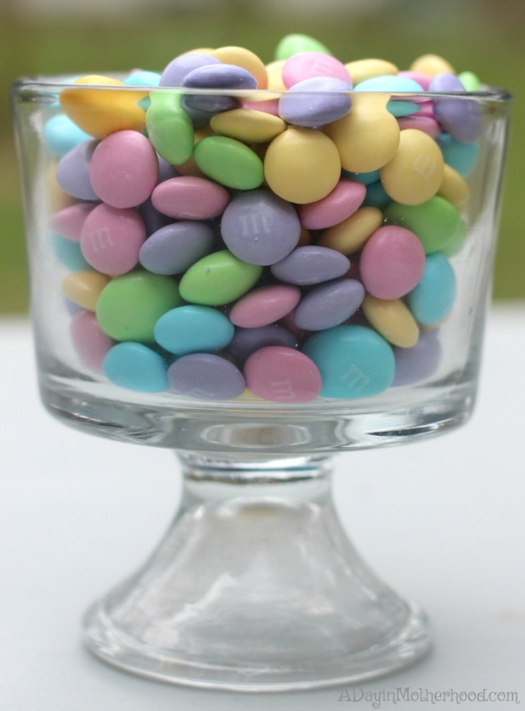 Pretty M&M White Chocolate candies are perfect for your Red Velvet Easter Cakes Recipe