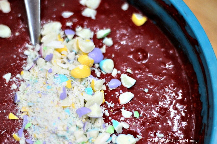 Mix M&Ms White Chocolate into your Red Velvet Easter Cakes Recipe