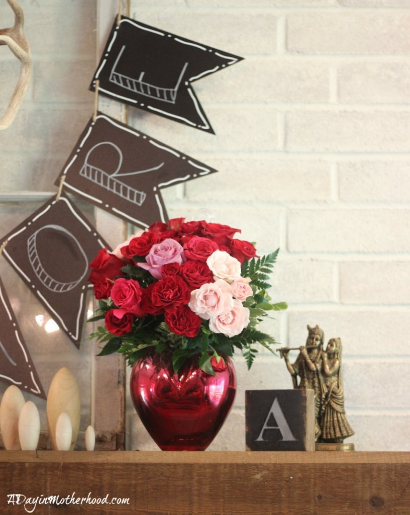 Make that mantle special with flowers and an Easy DIY Valentine Mantle Sign