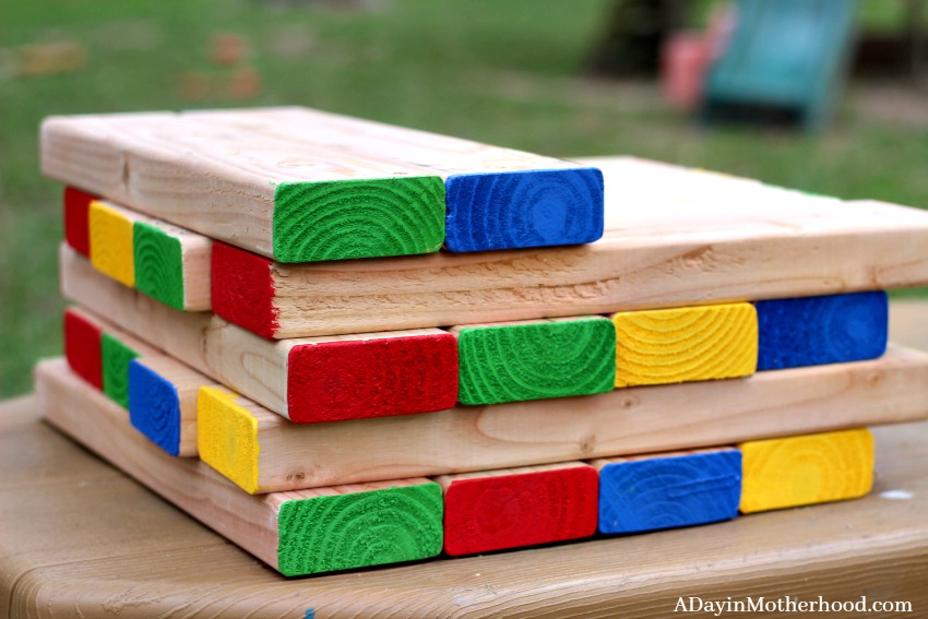 This DIY Outdoor Stacking Game is made for little hands