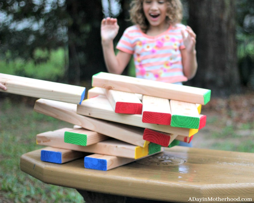 My DIY Outdoor Stacking Craft is easily modified for kids!