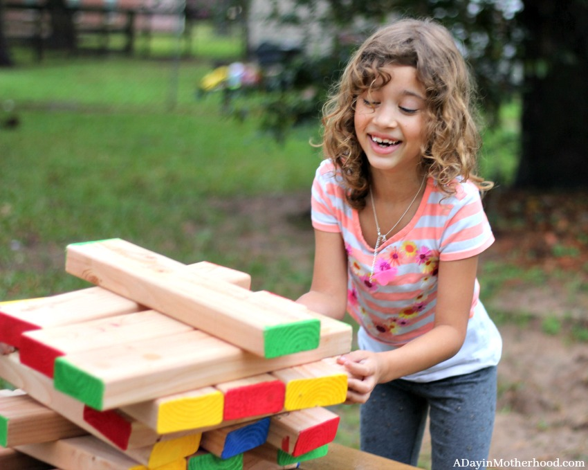 The kids love the DIY Outdoor Stacking Game!