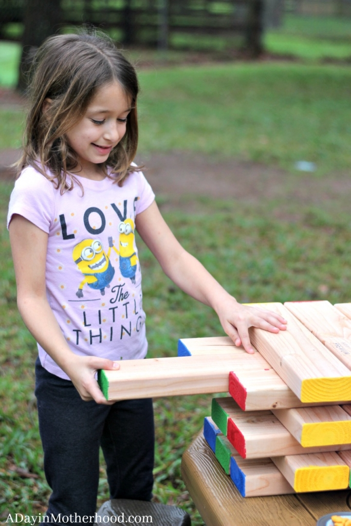 The DIY Outdoor Stacking Game is a an instant outside hit for kids!