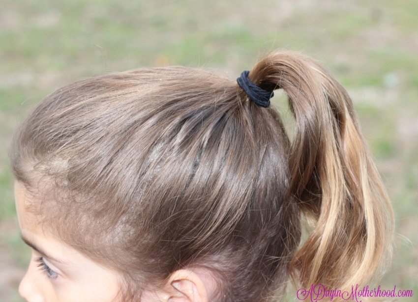 Start the Easy Princess Updo with a high ponytail