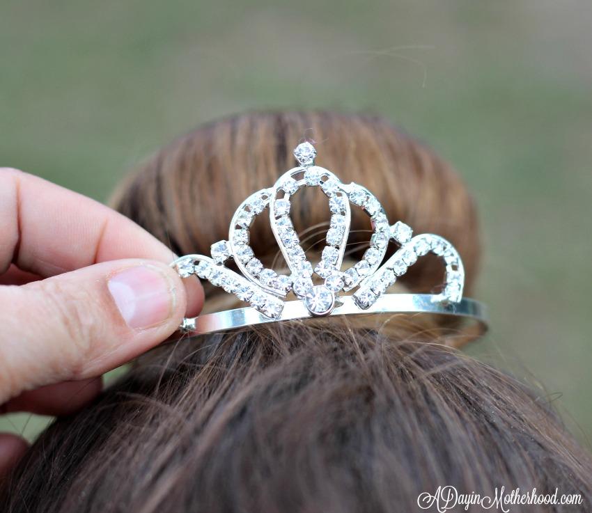 Use a bun tiara to top off the Easy Princess Updo for Kids