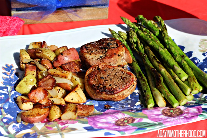 Bacon and Onion Potatoes are a perfect side to Bacon Wrapped Steak