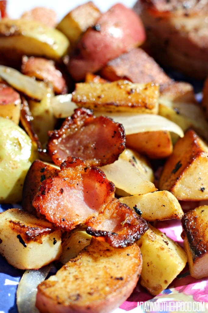 Add bacon to potatoes to make them even better for your Bacon Wrapped Steak & Potatoes