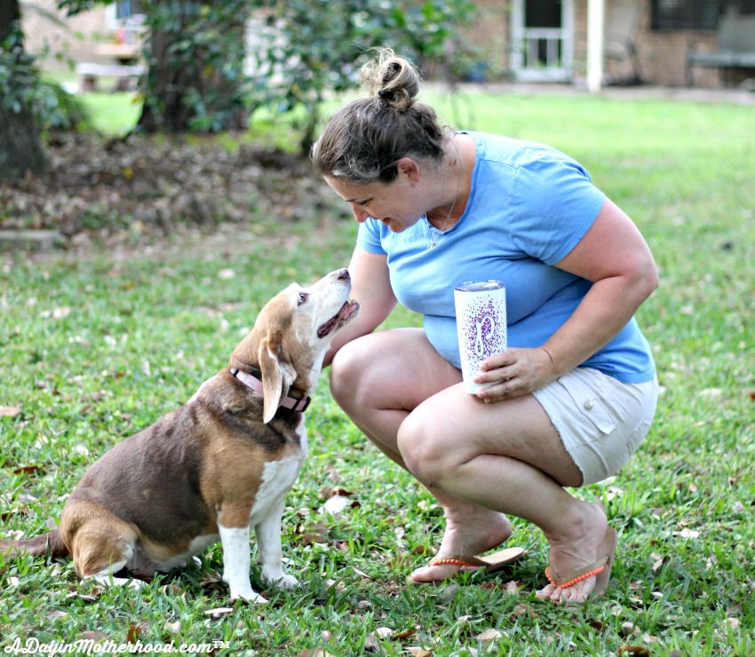 Take a break in the yard with the dog and your DIY Personalized Tea Tumbler
